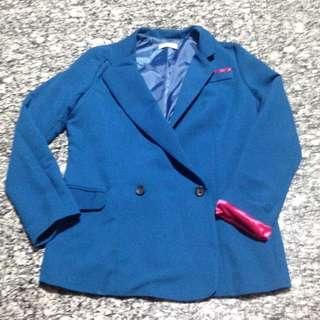(PRELOVED) Korean Blue Blazer with Pink Details - Free Size