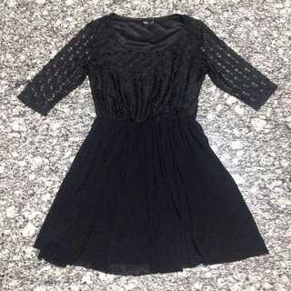 (PRELOVED) ASOS Black Sweetheart Lace Dress - UK14