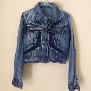 Denim Studded Cropped Jacket