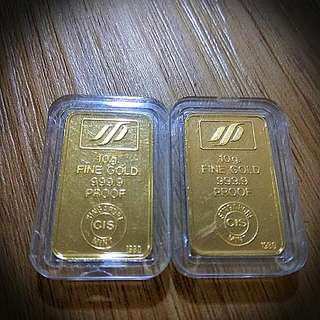 1980 Singapore Mint Pure 9999 Gold 2pcs Of 10grams Bar Bullion *PROOF* *RARE* *PROSPERITY & FORTUNE* (Total 20 Grams)