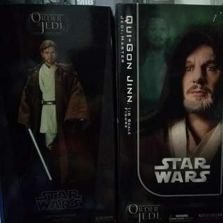 SIDESHOW 1/6 Star Wars Figure OBI Wan Kenobi And Qui GON Jinn