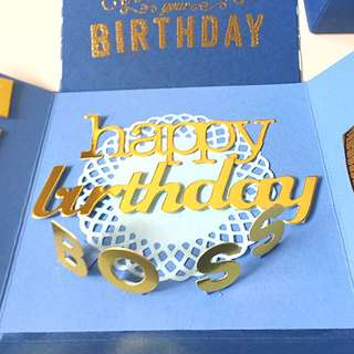Happy Birthday Boss Explosion Box Card In Blue And Gold