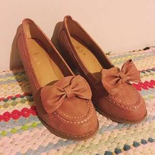 二手鞋👟優雅可愛蝴蝶結藕粉色6公分高跟鞋