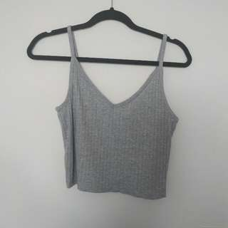 Grey Ribbed Spaghetti Strap H&M Crop Top
