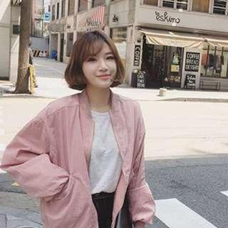 instock;pink bomber jacket