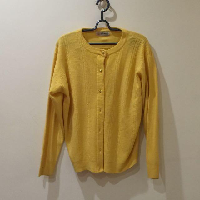 黃色古著針織小外套