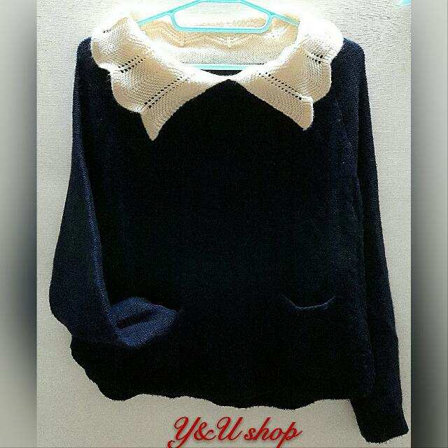 深藍色丈青色長袖毛衣