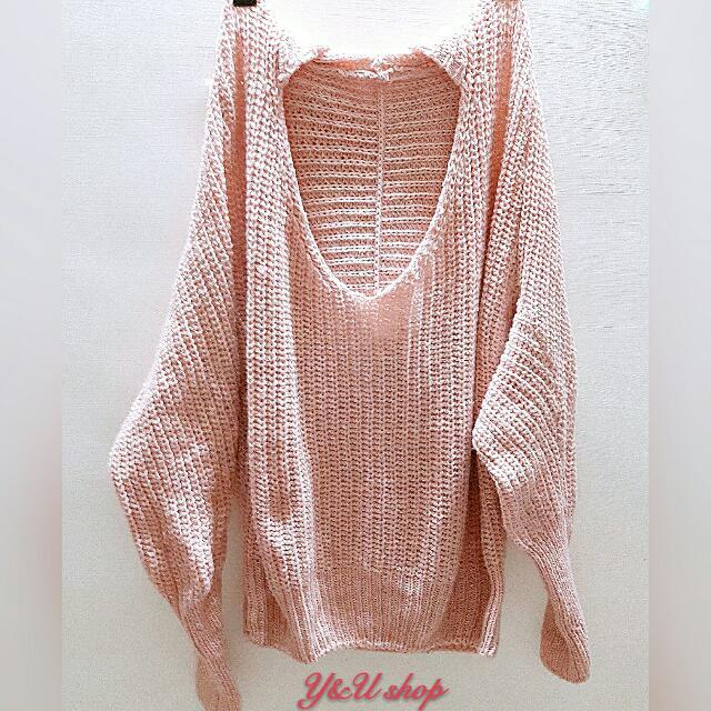 粉色針織連帽毛衣上衣飛鼠袖
