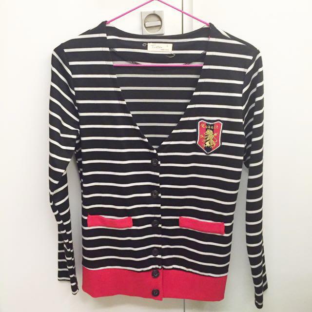 韓國 條紋針織外套 學院風 幾近全新 #三百元外套