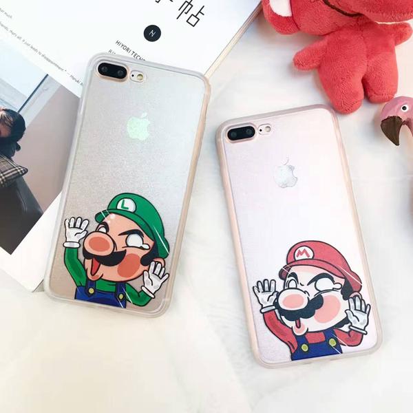 卡通馬莉歐蠶絲紋 蘋果iphone7矽膠手機殼6plus情侶保護套全包