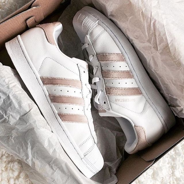 Adidas Superstar In White / Nude Velour Leather, Sports, Sports & Games Equipment on Carousell