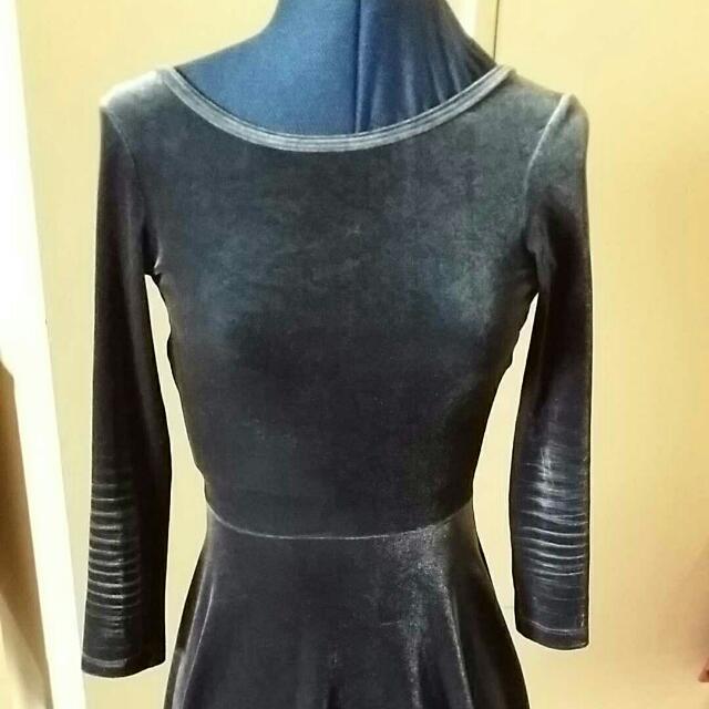 American Apparel Velvet Skater Mini Dress S
