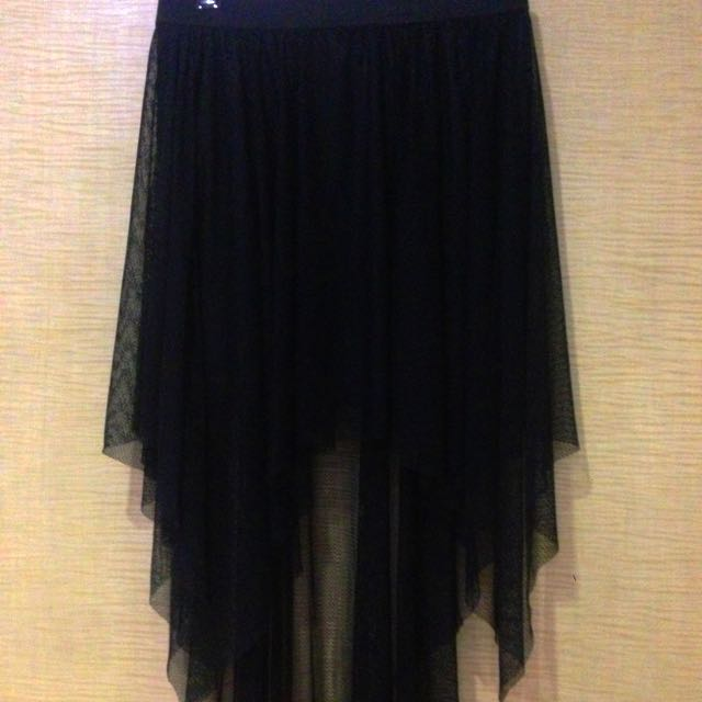 Asymmetrical Black Skirt. Mini With Lace Overlay