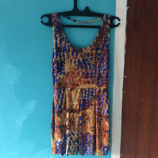 Backless Dress Printed