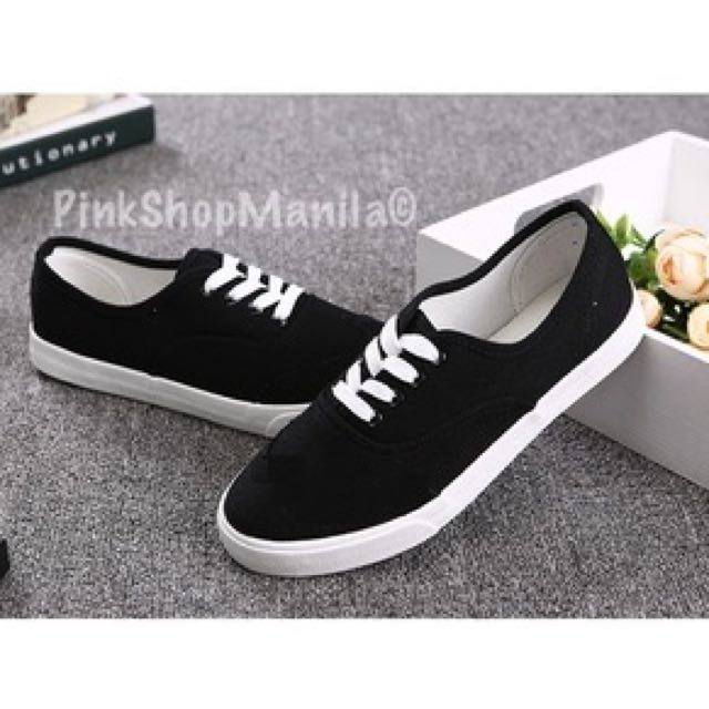 Basic Black Canvas Lace-up Sneakers