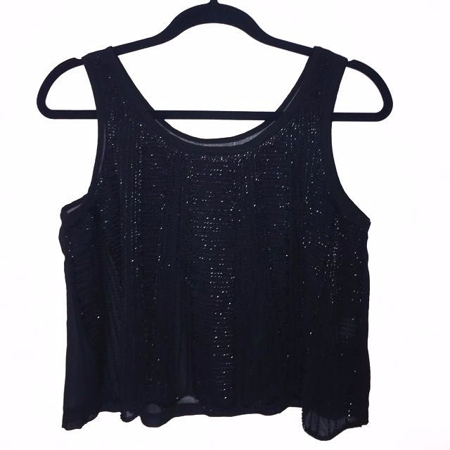 Black Beaded Singlet Top