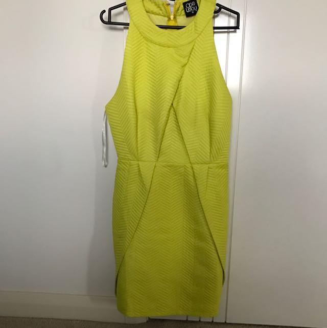 Bright Yellow-green Mini Dress Size 10