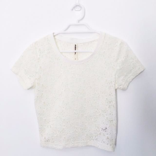 Cream Lace Crop Tshirt