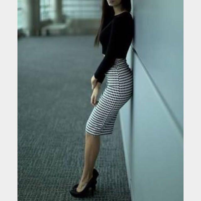 CUE geometric Jacquard Pencil Skirt