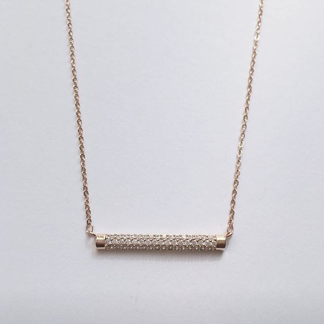 Dainty Crystal Rose Gold Bar Necklace