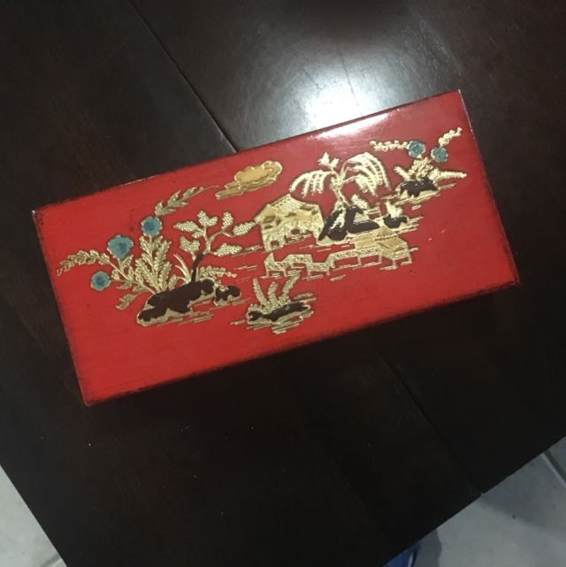Decorative Box - Red With Scenery