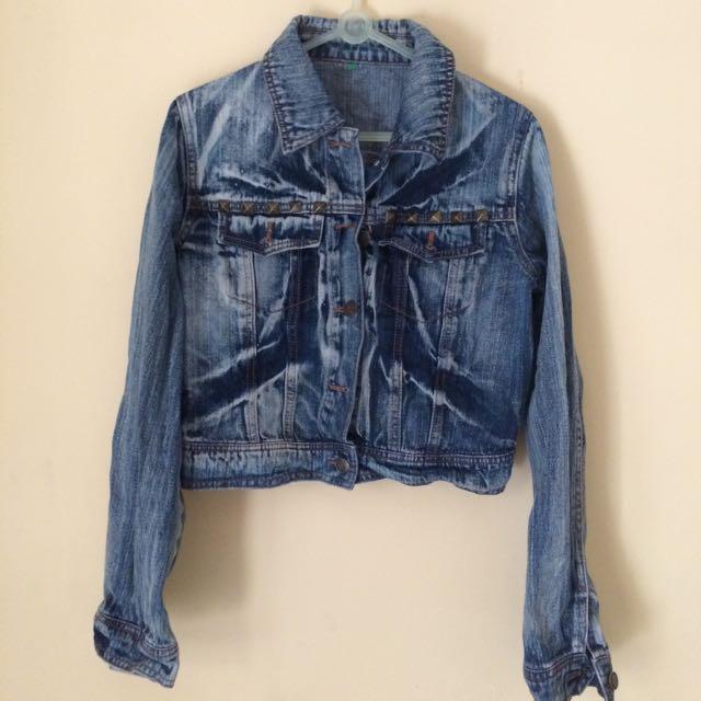 Denim Studded Cropped Jacket