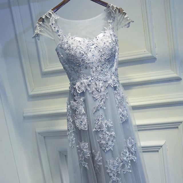 Evening Gown Lace Dress For Dinner Wedding Event In Grey Color ...