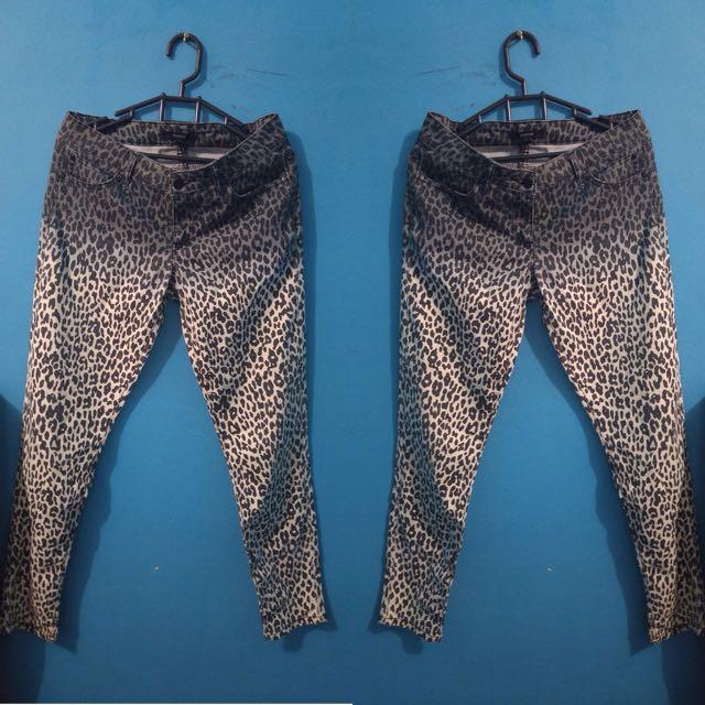 FOREVER21 FOREVER 21 Leopard Print Pants