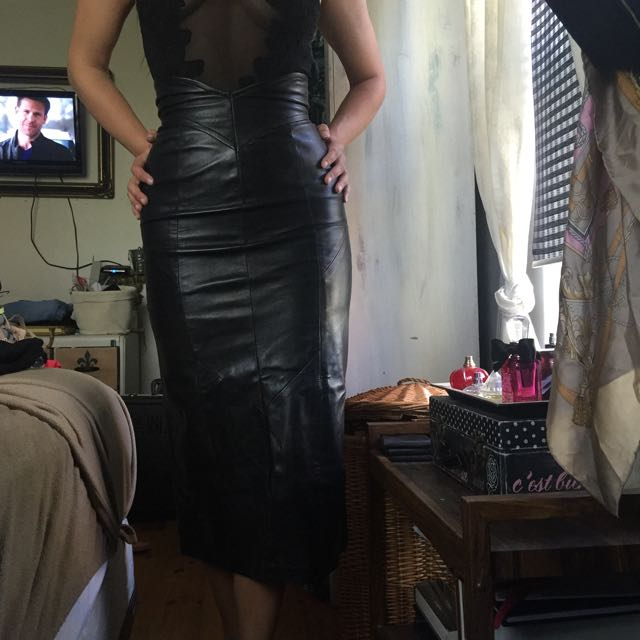 Genuine Leather High Waisted Long Skirt