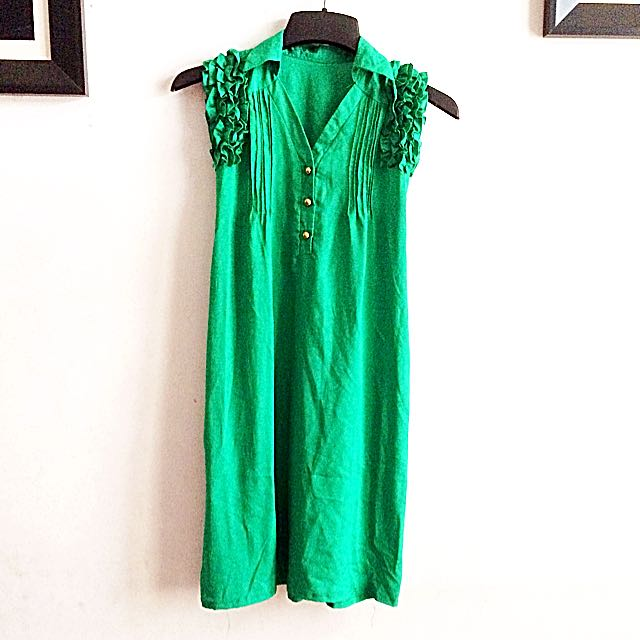 Green Dress Ruffle