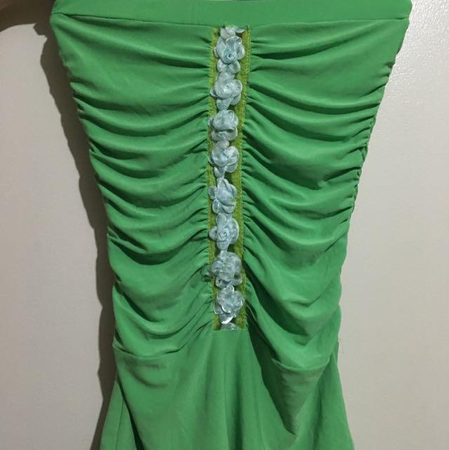 Green Strapless Top