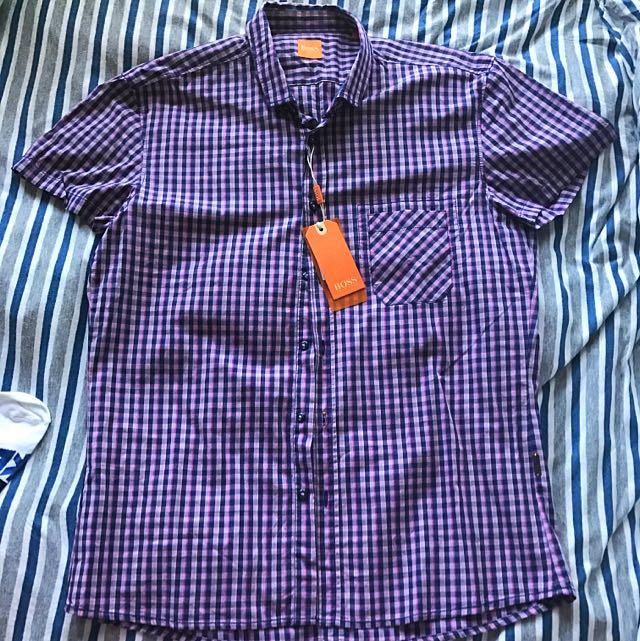 Hugo Boss Size L Short Sleeve Check Shirt Brand New Never Worn