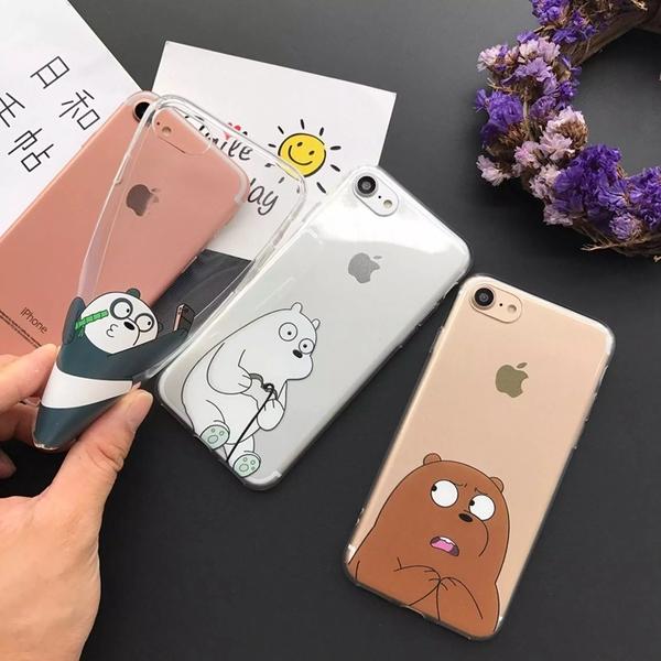 可愛卡通咱們裸熊iphone7手機殼 蘋果6s plus 透明軟膠殼包邊防摔