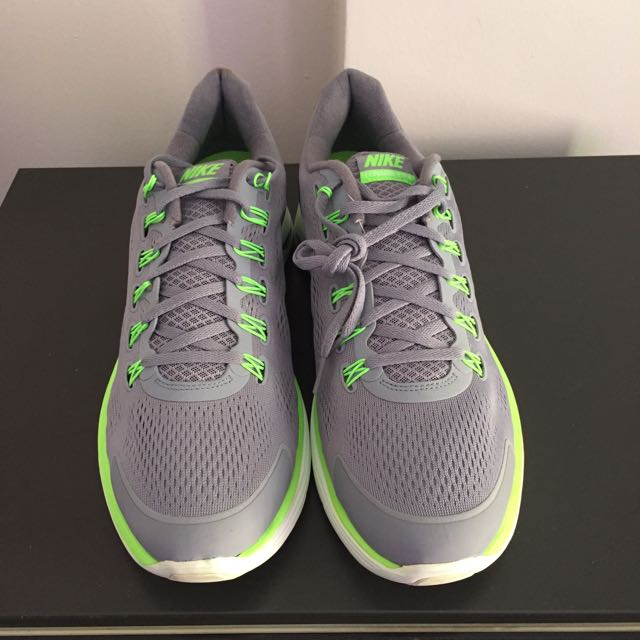 Grey Lime Green Running Shoes