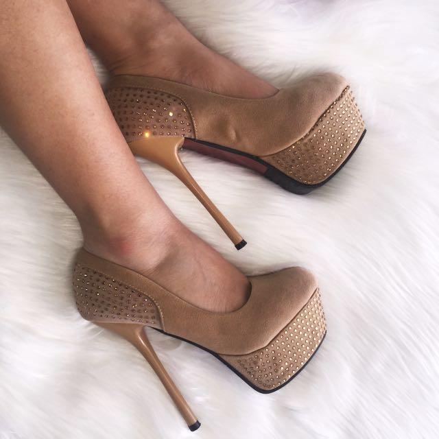 Nude Diamanté Heels
