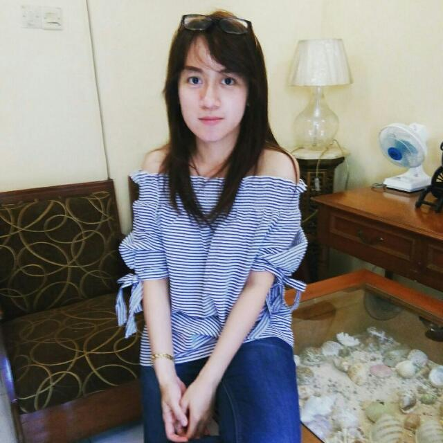 Owner Wearing Sabrina Stripes Top Import