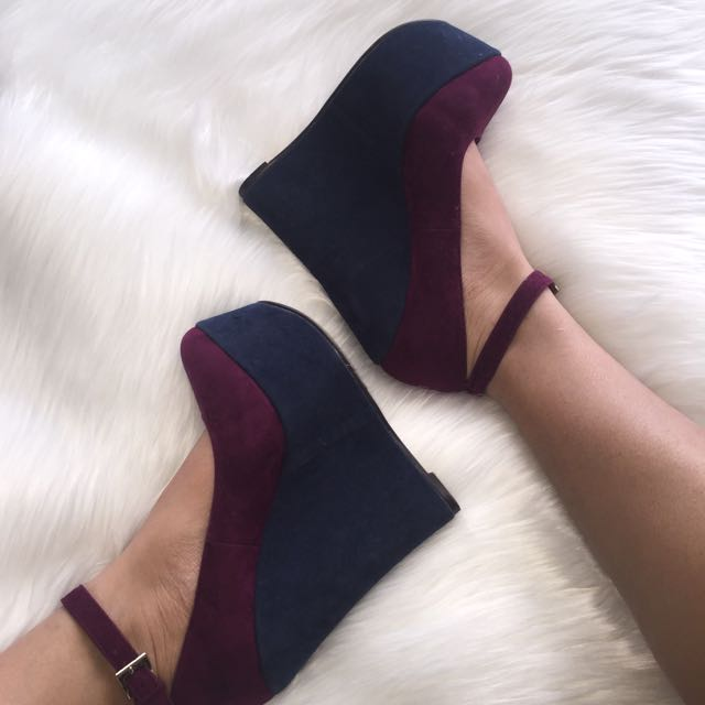 Purple/ Dark Blue Wedge Heels