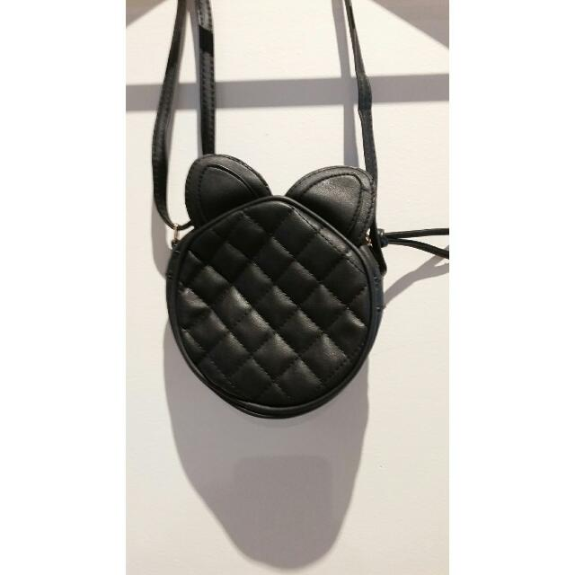 Round Faux Black Leather Catwoman Bag