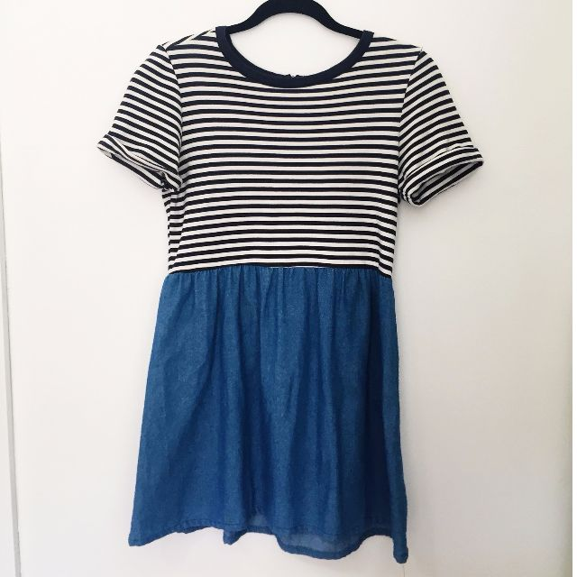 Striped / Denim Skater Dress
