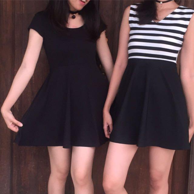 stripes dress brand jrep 105rb / black out dress 85rb