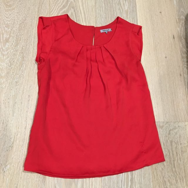 Table Eight Red Ladies Blouse Size 10