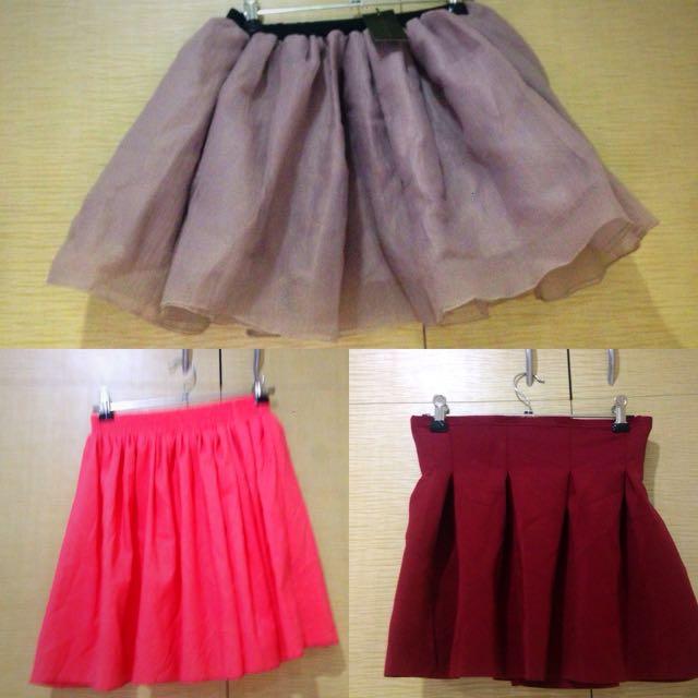 Three Small Sized Skirts Together #miniskirts
