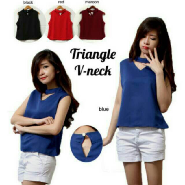 Triangle V Neck Choker Top