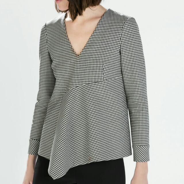 Zara Checker Top Size Small