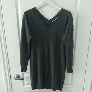 Everlane Charcoal Grey 100% Cashmere Sweater Dress Sz S