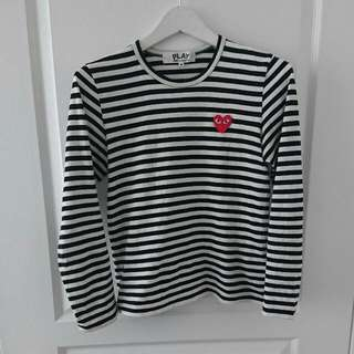 PLAY CdG Striped Shirt Sz S