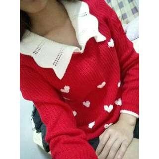 V領針織愛心毛衣