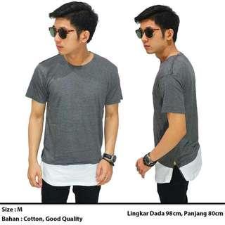 Lonline T-Shirt Two Tone Zipper Grey
