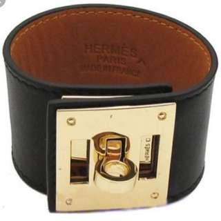 Hermes Kelly Dog Cuff Bracelet - Gold Hardware