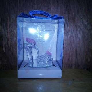 Pink glass shoe souvenir